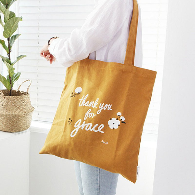 Flower flower cotton Eco bag 03. Mustard yellow