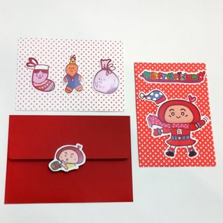 【POPO ABBY】 Christmas sticker card  Lovely day /  Red