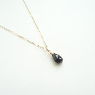 Black Tourmaline Faceted Teardrop Briolette Dangle Dainty 14K GF Necklace