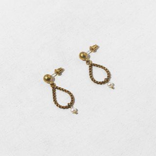 Sonia Pearl Brass Earrings - Sterling Silver Needle / Clip Earrings