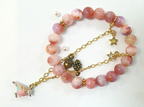Paris * Le Bonheun. Happy hand made. Ghost dancing the sky (pink birds). Fairy magic natural stone bracelet. Colorful stone rendering stone