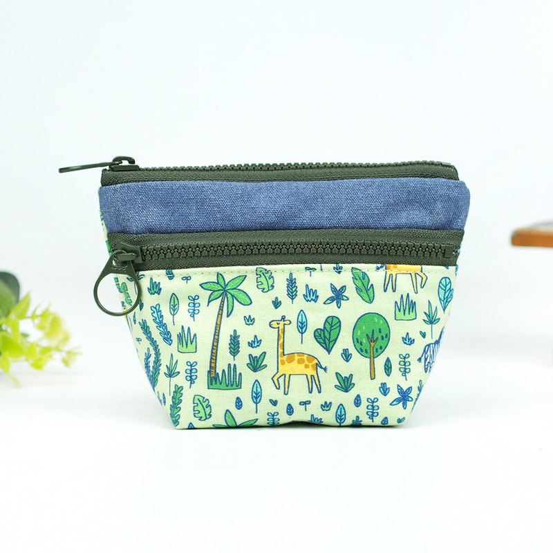 Hand-made cloth bag pocket purse double zipper small storage bag giraffe zebra [animals of the grassland] [BG-08]