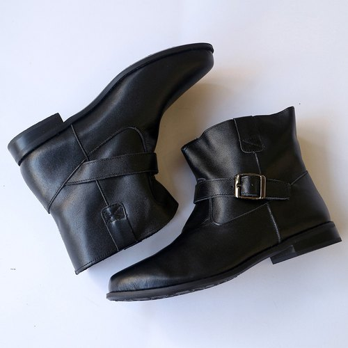 [Wandering map] buckle short boots _ black