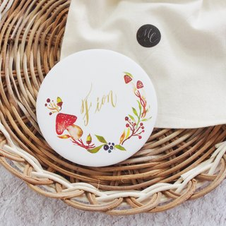 Mstandforc Mushroom Pocket Mirror with bag | Florals with gold foil service