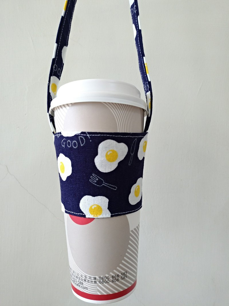 Drink Cup Set Eco Cup Set Hand Drink Bag Coffee Bag Tote Bag - Poached Egg (Dark Blue)