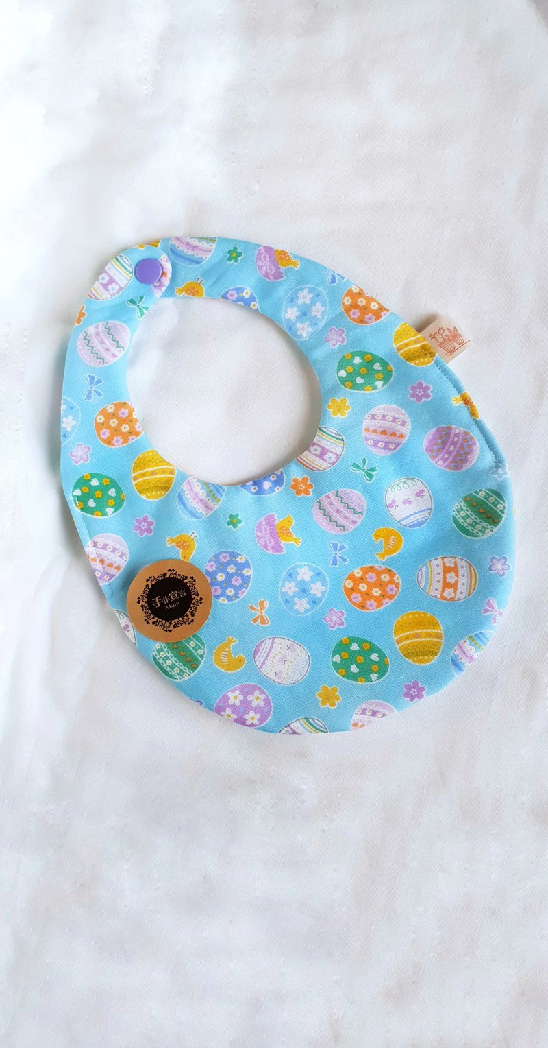 Chicken Painted Egg - Blue - Eight Layers 100% Cotton Double Sided Egg Bib