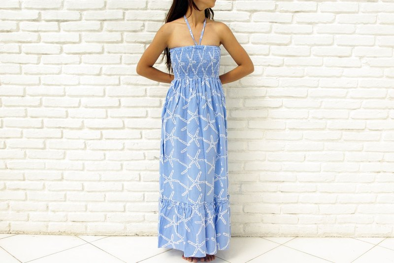 Summer color Starfish ruffle long one-piece dress Blue
