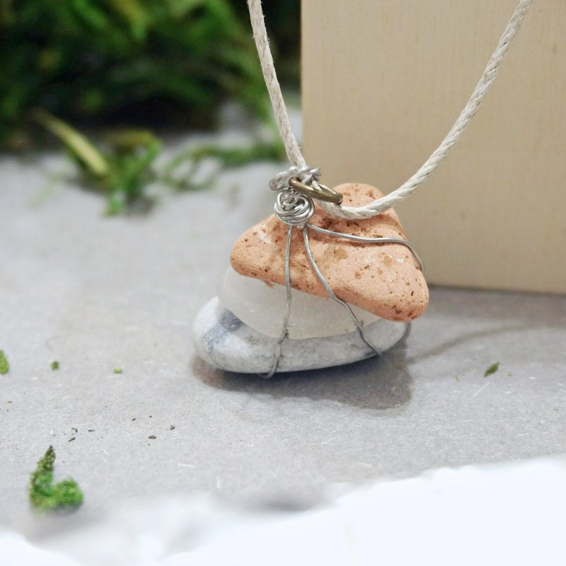 UPCYCLING Eco natural stone, sea glass, necklace- orange, transparent, white