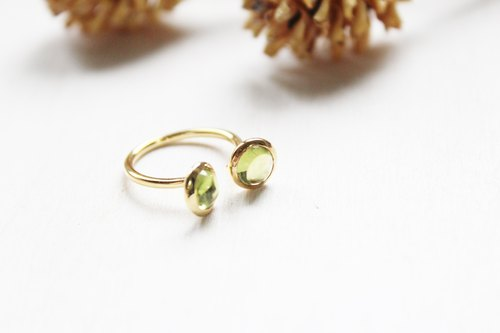 August Birthstone Peridot 22K Series Peridot Gold Plated Adjustable Ring