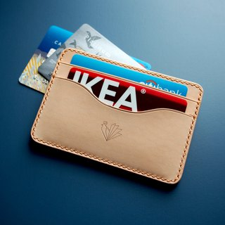 Two side leather card sleeve / card holder