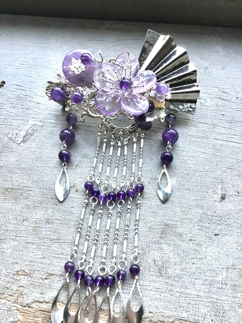 Meow Handmade ~ Antique Amethyst Folding Fan Spring Hair Clip