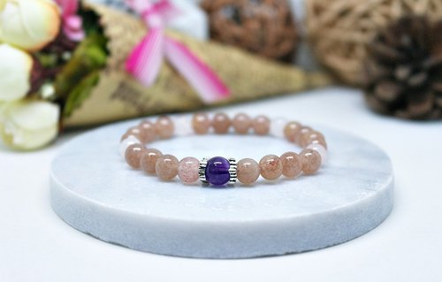 Natural stone X Silver Elastic Bracelet child _ another on berry