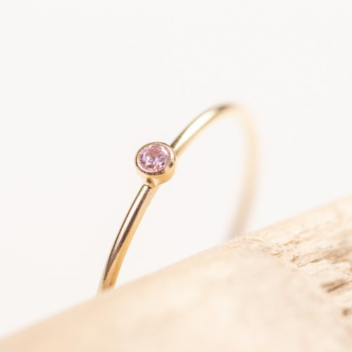 SWEDEN pink dainty ring in 14k Gold-Filled and Pink Zircon stone