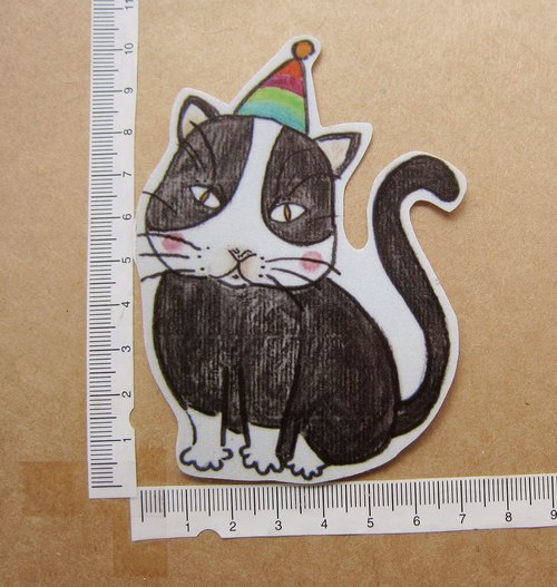 Hand-drawn illustration style completely waterproof sticker black and white guest cats birthday