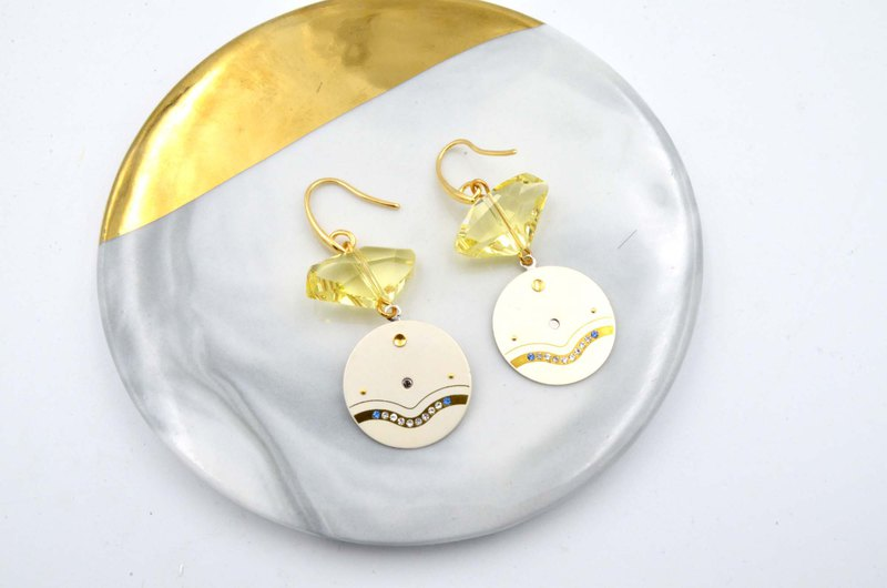 Yellow Swarovski Crystal with Vintage Dial Earrings