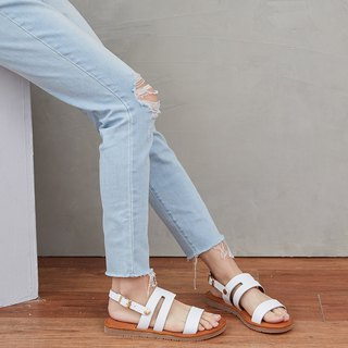 [HI Good Morning] full leather two wear sandals and slippers _ curtain white