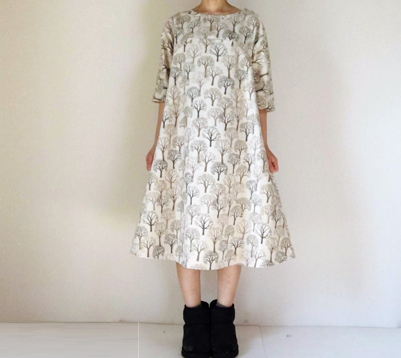 Winter forest tree flare one piece dress cotton linen white gold