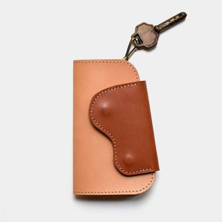 [God's right hand key] vegetable tanned leather key bag primary color X brown leather lettering gift