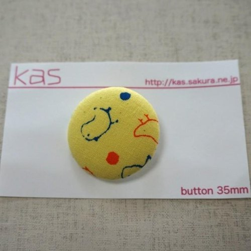 "Hand printed original covered button""birds""(large)"
