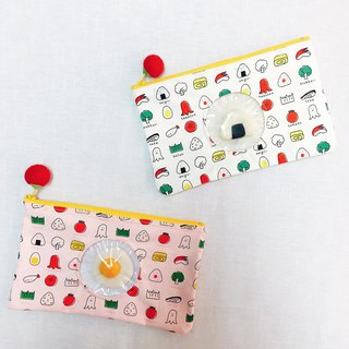 Egg-impregnated egg ball wool felt transparent cosmetic bag storage bag pencil bag Japan cloth production