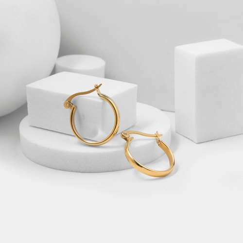 Curved Earrings (Steel) (Gold)