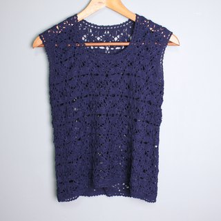 FOAK vintage navy blue hollow crochet vest