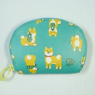 Play cloth hand. Japanese Chai dog (Lake water green) tarpaulin - purse short clip