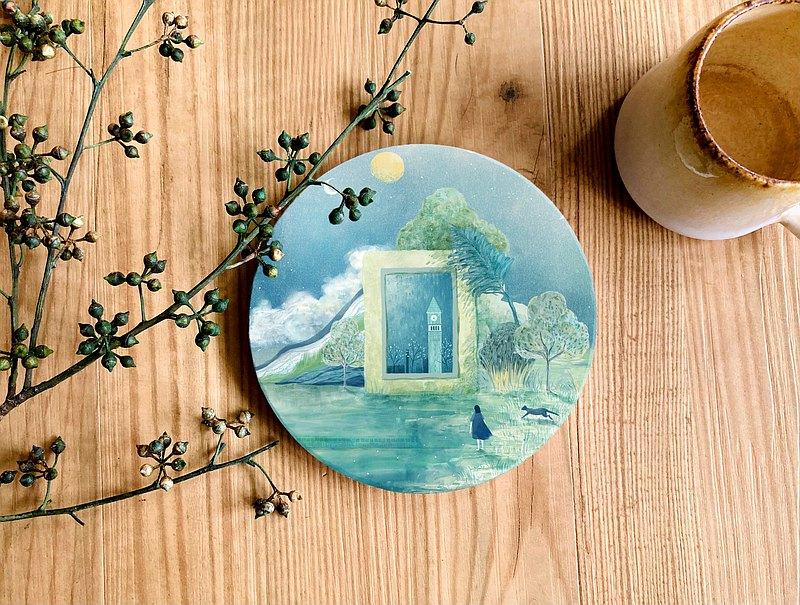 陶瓷杯墊 - 滄藍