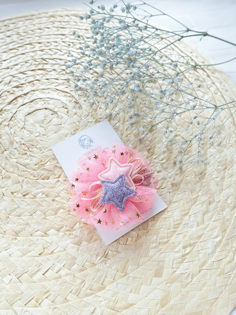 Children hair ornaments. Shiny net yarn star hair clip Liuhai folder