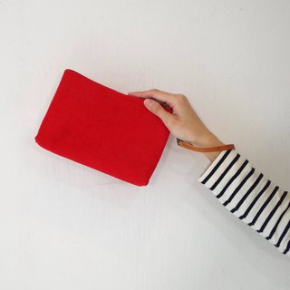 Kurashiki canvas clutch bag Phoenix red