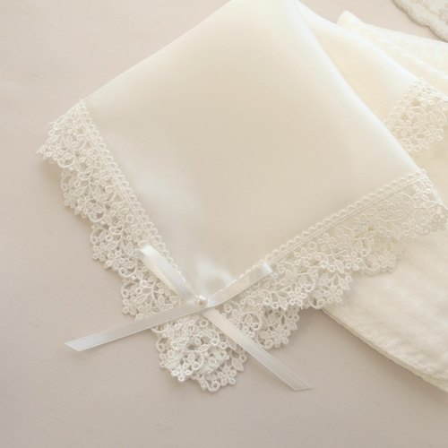 Wedding handkerchief silk handkerchief [bride handkerchief Noah] white ribbon
