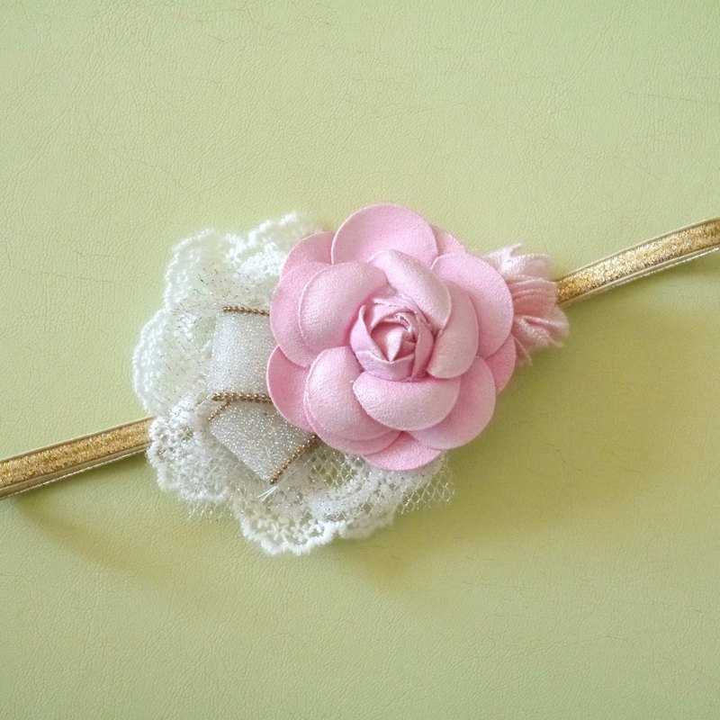 Soft pink camellia lace hair band