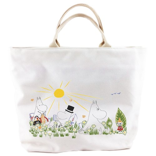 Moomin Lulu meters authorized - [zipper canvas bag - white] (small)