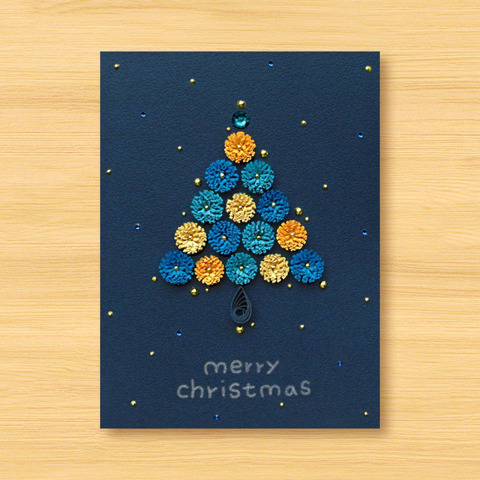 Handmade Roll Paper Christmas Card - Starry Series - Flowers Roaming Christmas Tree