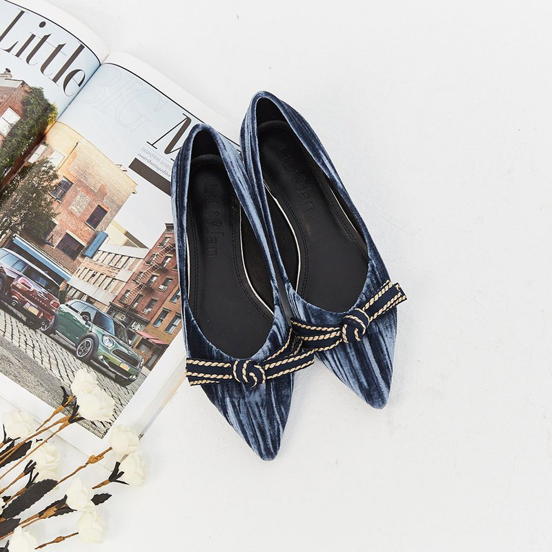 [Sparkling] bow three-dimensional texture velvet pointed shoes _ mermaid tear blue