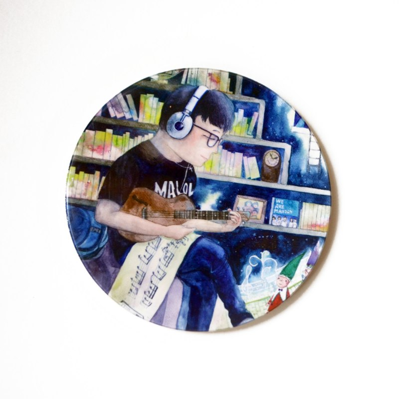 【Watercolor illustration ceramics coaster】Music Busker