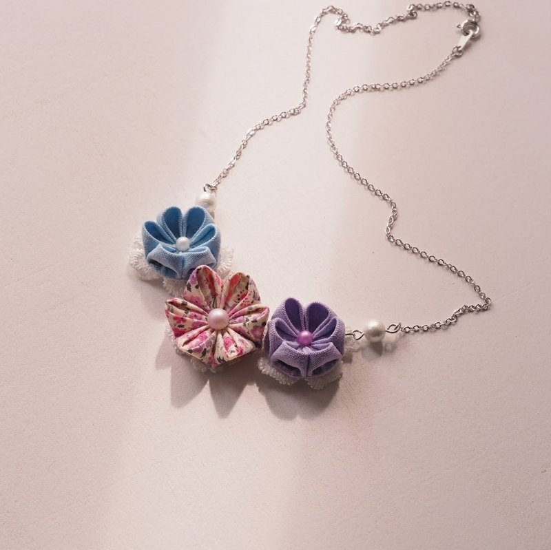 Blue and Purple Floral Necklace