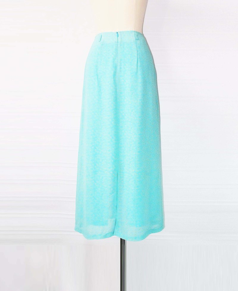 Wahr_ light blue chiffon small floral skirt