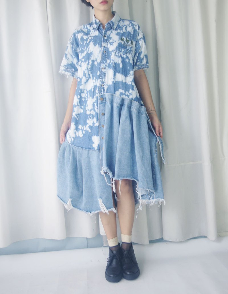 Restyle-Retro Vintage - Irregular Skirt Sky Blue Personality Bleached Denim Shirt Dress
