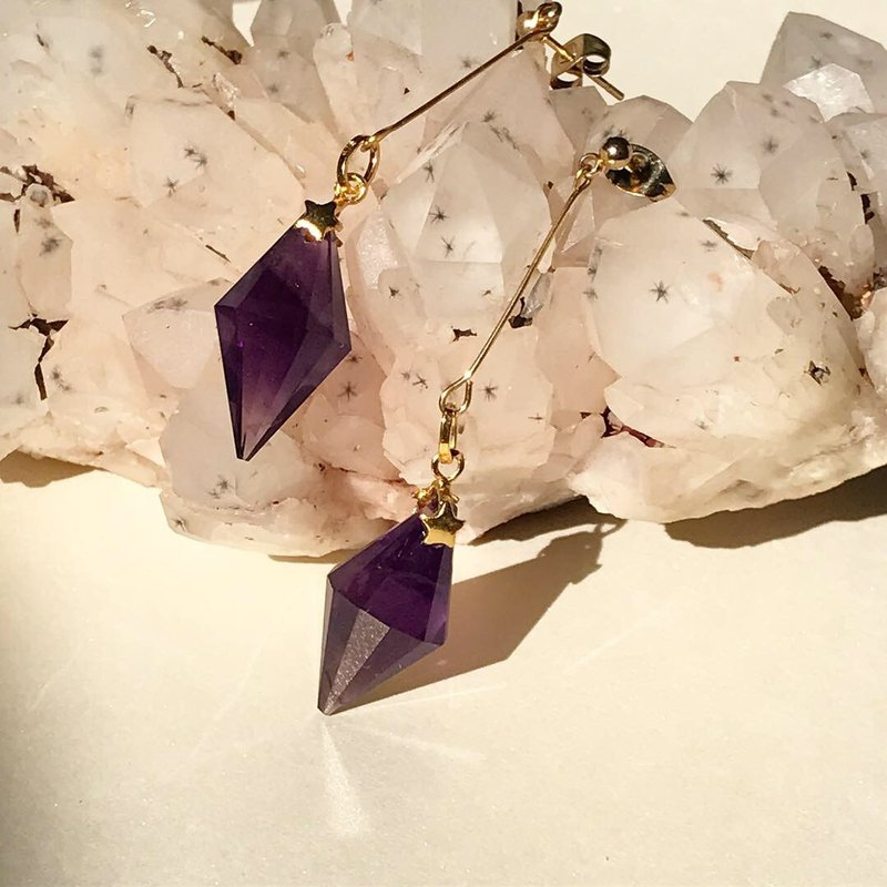 【Lost And Find】Mini size Natural amethyst earring
