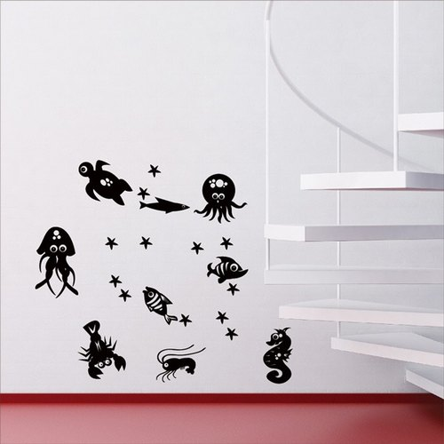 Smart Design Creative wall stickers Incognito ◆ marine organisms 8 color options