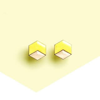 Hex - wooden earrings, lemon yellow / Titanium stud earrings or plastic clip earrings