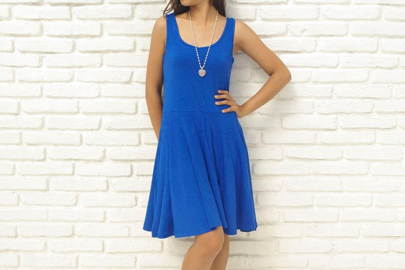 Adult cute tank top flare dress <Blue>