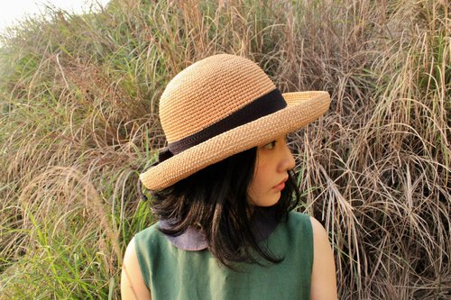 Chokdee-muakdeedee!|Dome Lady Flanged straw hat caramel grass elegant temperament vacation picnic shade companion