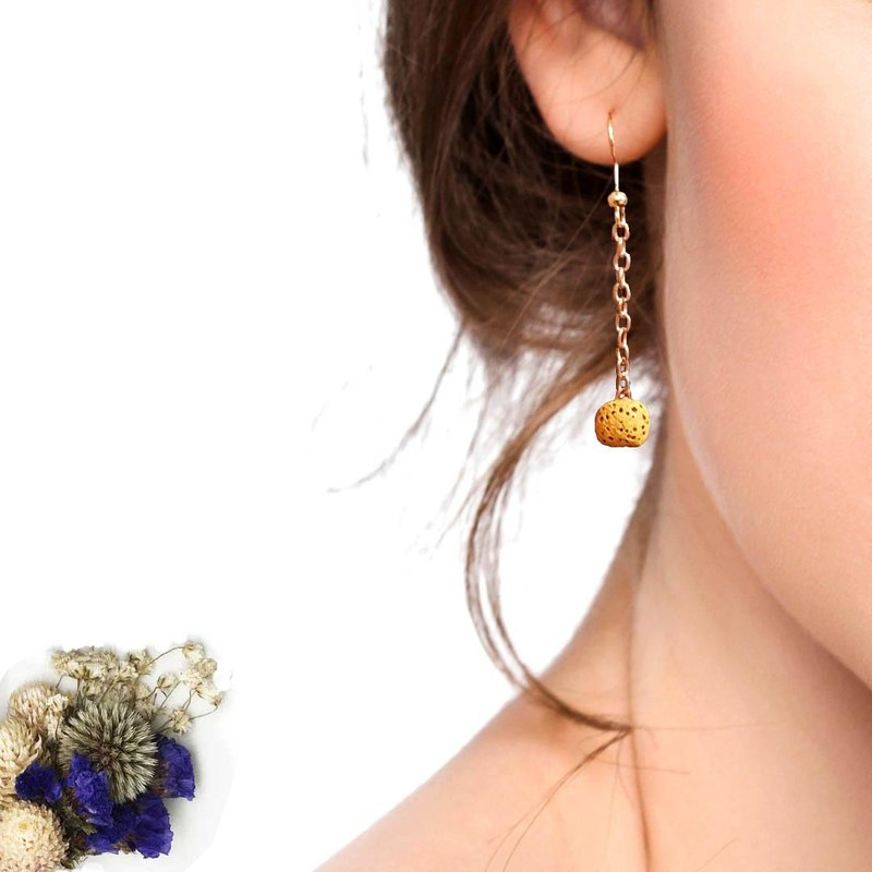 Diffuser Earrings Yellow Aroma Rock Lava Beads Dangle Hook Piercing One Pair