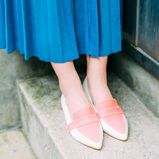 [Zero code clear] perfect fake skinny feet! honey light powder two-color flat shoes coral red full leather