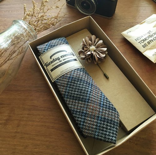 Neck Tie Grey Houndstooth with Brown Flora Lapel Pin (ฺwith Crafted box)