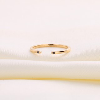 【Custom Made for Ed 】18k Yellow Gold Black Diamond Open Ring Band R028
