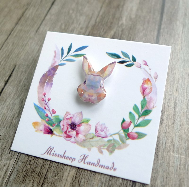 Misssheep-U19 Geometric Animal Series Bunny Handmade Earrings (Auricular Needle / Ear Clip) (single)