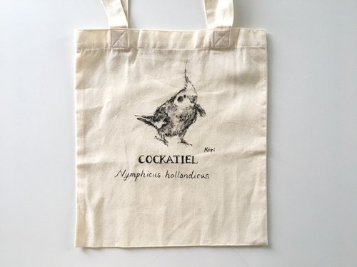 Pure hand-painted bird's cotton shopping bag ‧ Xuan Feng